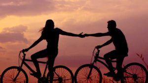 Dating someone with Borderline Personality Disorder - two people on bikes in sunset